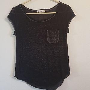Sheer Black & Gray Hollister T-shirt XS